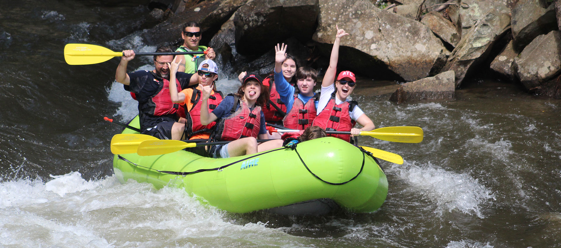 Students whitewater rafting
